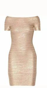 Carmen Gold  Off Shoulder Bandage Cocktail Dress L